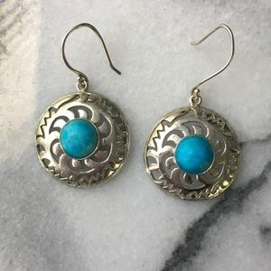 Silver Turquoise sun disc earrings french hooks